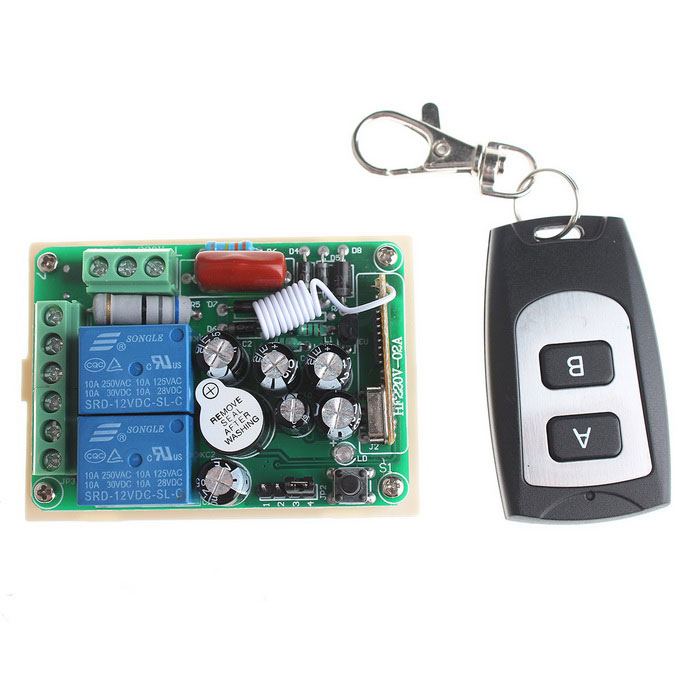 VGG24 220V 2-Channel Remote Switch Module + 2-Key Remote Control - Green ac 380v 63a 3 pole 2 knife switch circuit control opening load switch