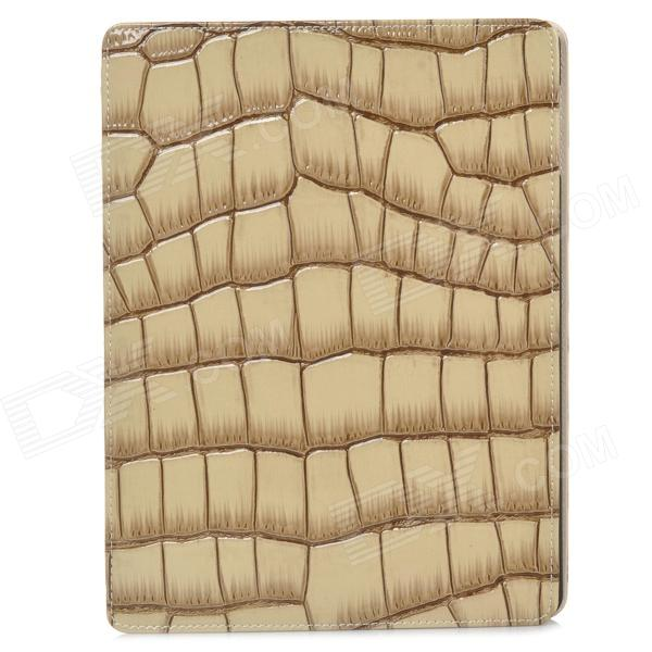Alligator Pattern Protective Flip Open PU Leather Case w/ Stand for Ipad 3 - Brown + Beige protective flip open pu leather case w stand for ipad air brown
