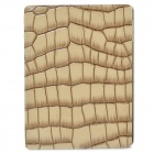 Alligator Pattern Protective Flip Open PU Leather Case w/ Stand for Ipad 3 - Brown + Beige