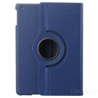 360 Degree Rotatable Protective PU + PC Flip Open Case w/ Stand for Ipad AIR - Deep Blue