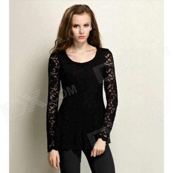 Fashion Round Collar Lace Long Sleeves Bottoming Shirt for Women - Black (Size L)