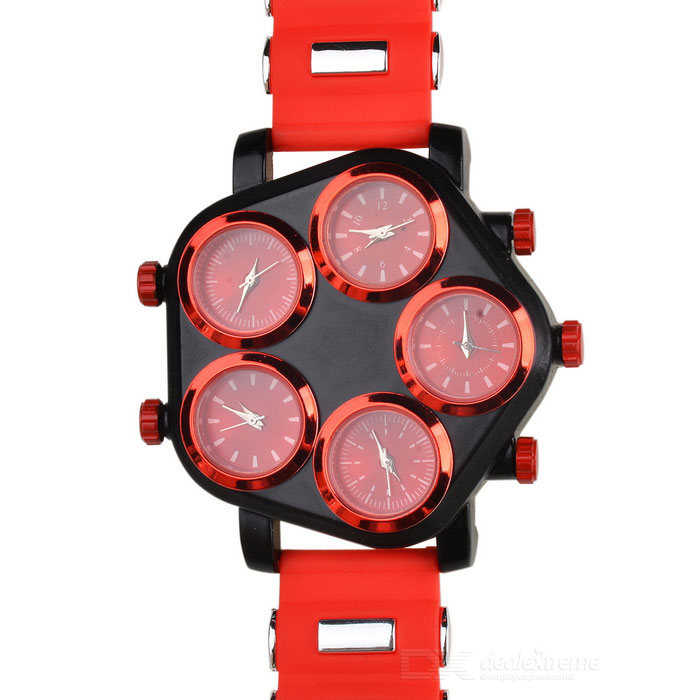 Five Dial Silicone Band Analog Quartz Wrist Watch - Red + Black pentagon dial five movement men s sports analog quartz wrist watch black silver 5 x 377 page 7