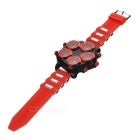 Men's Five Dial Silicone Band Analog Quartz Wrist Watch - Red + Black