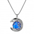 Retro Hollow Out Moon Style Pendant Necklace for Women - Silver + Blue