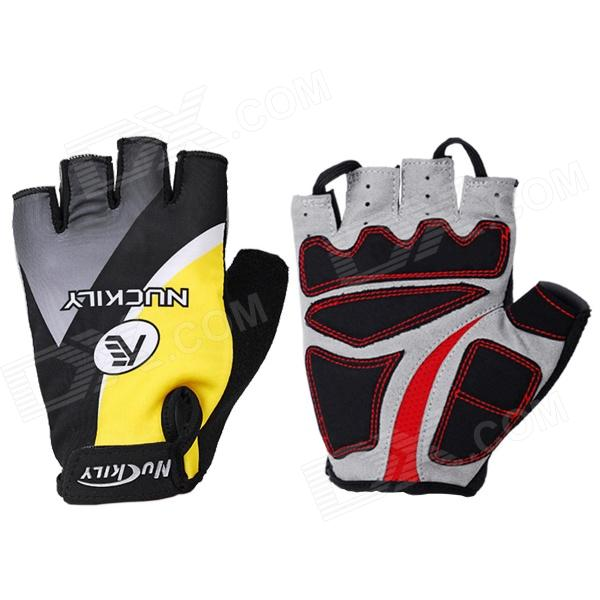 NUCKILY NS3552 Outdoor Dacron + Spandex Glove for Cycling / Hiking - Black + Yellow (L)