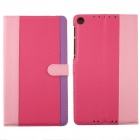 Protective PU Leather Case Cover Stand for Google Nexus 7 II - Deep Pink + Pink + Purple