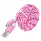 ABS + Nylon USB to Micro USB Charging / Data Cable for Samsung / HTC + More - Pink + White (100cm)