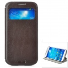 KALAIDENG Protective PU Case w/ Display Window / Stand for Samsung Galaxy S4 i9500 - Black Brown