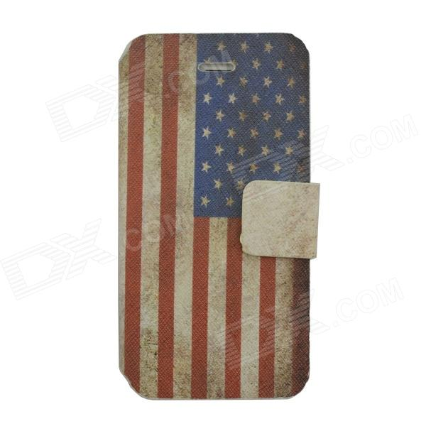 American Flag Pattern PU Leather Case Cover w/ Card Slot for Iphone 5C - Red + Blue + White protective pu leather case w touch cover for iphone 5c white black