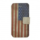 American Flag Pattern PU Leather Case Cover w/ Card Slot for Iphone 5C - Red + Blue + White