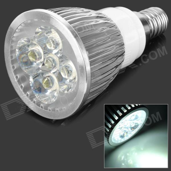 E14 5W 550lm 6500K 5-LED White Light Spotlight - Silver + White (85~265V)