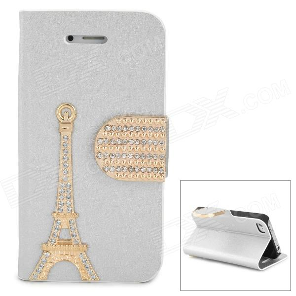 PUDINI WB-IP4S Stylish Crystal-inlaid Tower Decoration Flip-open PU Case w/ Holder for Iphone 4S / 4 stylish flip open pu leather tpu case w holder for iphone 4 4s red