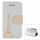 PUDINI WB-IP4S Stylish Crystal-inlaid Tower Decoration Flip-open PU Case w/ Holder for Iphone 4S / 4