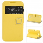 HELLO DEERE Protective Flip Open PU Case w/ Stand / Display Window for S4mini - Lemon Yellow