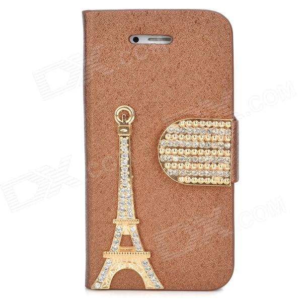 PUDINI WB-IP4S Stylish Shiny Crystal-inlaid Tower Decorated Flip-open PU Case w/ Holder for Iphone 4 stylish flip open pu leather tpu case w holder for iphone 4 4s red