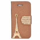 PUDINI WB-IP4S Stylish Shiny Crystal-inlaid Tower Decorated Flip-open PU Case w/ Holder for Iphone 4