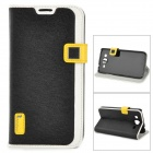 HELLO DEERE Stylish Flip-open PU Leather Case w/ Holder + Card Slot for Samsung 9152 - Black