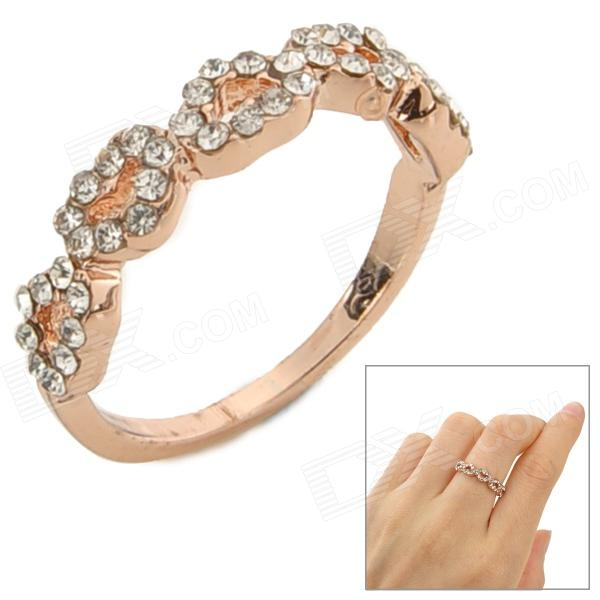 SHIYING C02436 Rhinestone Heart Style Decoration Finger Ring - Golden