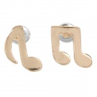 SHIYING d04462 Musical Notes Style Zinc Alloy Earrings for Women - Golden (Pair)
