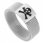 SHIYING jz150 Men's Skull Pattern 316L Stainless Steel Ring - Silver + Black