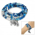 SHIYING C04349 Fashion Elephant Multilayer Tourmaline Natural Crystal Bracelet - Blue
