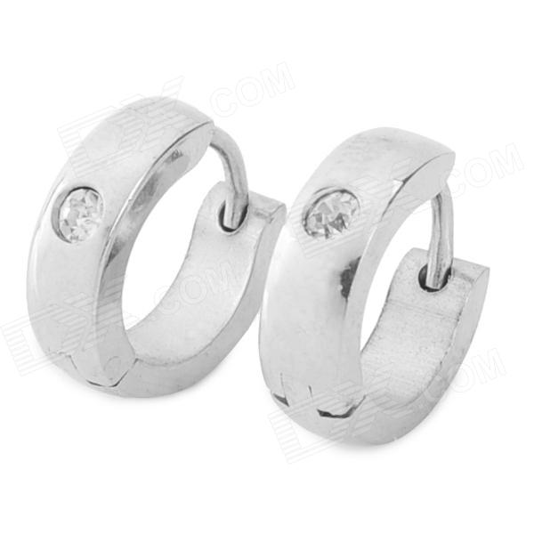 SHIYING BN-679A92CA Men's 316L Stainless Steel Earrings w/ Rhinestone - Silver (Pair)
