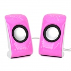 6W Mini USB Powered Stereo Speaker w/ 3.5mm Jack - White + Black + Pink Purple (2 PCS)