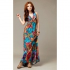 Women's Bohemia Style V Collar Long Dress - Multicolored (Size Free)
