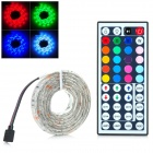 5050RGB 12W 200lm 60 SMD 5050 LED Waterproof RGB Light Stripe w/ 44 Key Remote Control - White (1 M)