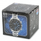 TVG 4G08 Square Style Mirror Blue  LED Light PU Band Digital Wrist Watch for Men - Black