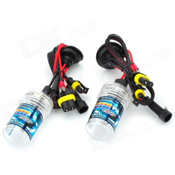 H1 35W 3200lm 4300K White Yellow Car HID Headlamps - Black + Transparent (2 PCS)