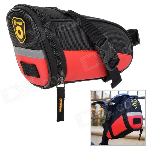 Convenient Water Resistant Oxford Fabric Saddle Bag for Bicycle - Red + Black free shipping 2017 new oxford cloth motorcycle saddle bag helmet package moto saddle bag waterproof cover plastic plate