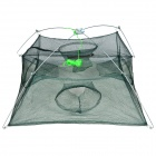 Foldable 4-opening Fish Shrimp Lobster Trapping Basket Net - Green