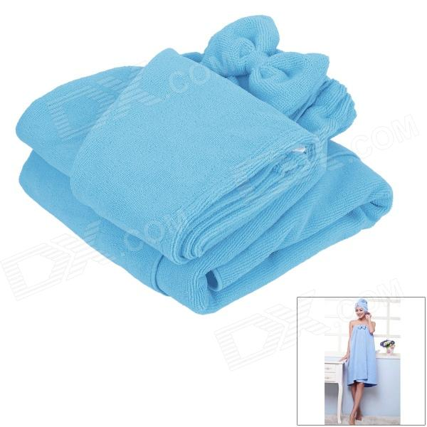 LX-9009 Cozy Fiber Bath Towel + Shower Cap - Blue flg wall mounted bath towel rack bath towel holder solid brass oil rubbed bronze double towel rails bars bathroom accessories