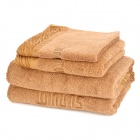 Jieyu FR03-092 Cotton Bath Towel + Face Towel + Towel Set - Brown (3 PCS)