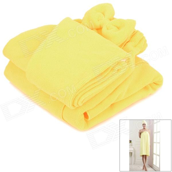 LX-9009 Cozy Fiber Bath Towel + Shower Cap - Yellow flg wall mounted bath towel rack bath towel holder solid brass oil rubbed bronze double towel rails bars bathroom accessories