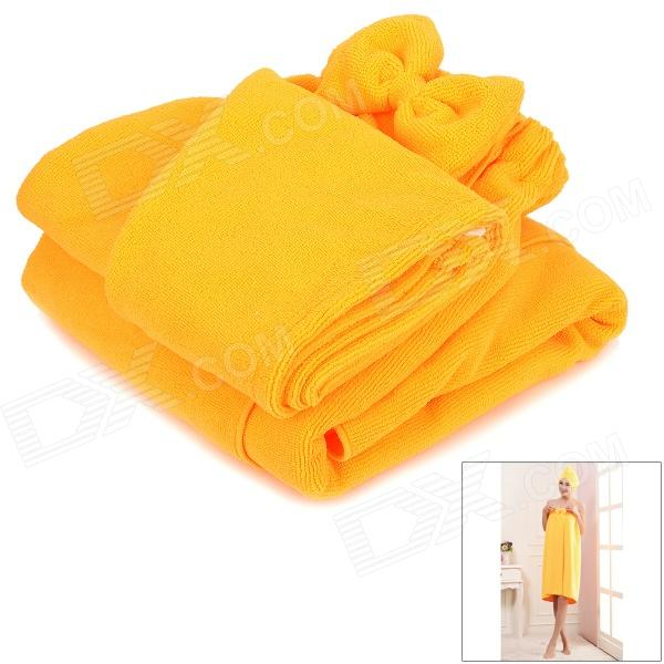 LX-9009 Cozy Fiber Bath Towel + Shower Cap - Orange flg wall mounted bath towel rack bath towel holder solid brass oil rubbed bronze double towel rails bars bathroom accessories