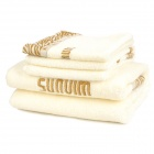Jieyu FR03-092 Comfortable Pure Cotton Towel Set - White (3 PCS)