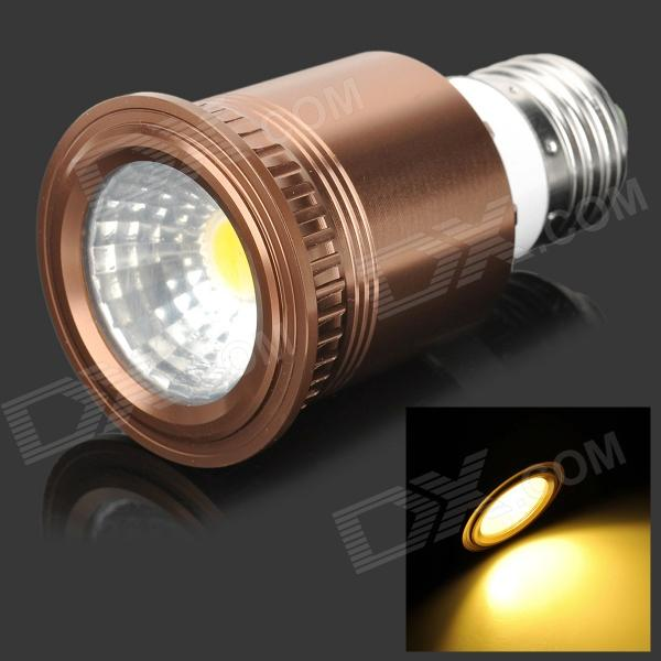 UItraFire E27 7W 400lm 3200K 1-COB Warm White Light Spotlight - Brown + Silver + White (85~265V) - DXE27<br>Brand UItraFire Material Aluminum alloy + plastic Color Brown + silver + white Quantity 1 Emitter Type COB Total Emitters 1 Power 7 W Color BIN Warm white Rate Voltage 85~265 V Chip Working Voltage 3V Luminous Flux 400 lm Color Temperature 2800~3200 K Wavelength No nm Connector Type E27 Application Suitable for hotels bars and corridor Features With good heat dissipation easy to use; Bulit-in constant current drive power supply; Widely used at commercial space habitable room and construction etc. Packing List 1 x Spotlight<br>