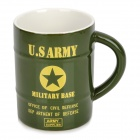 L3409 Stylish Barrel Style Ceramic Cup - Army Green + Yellow (350ml)
