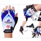 NUCKILY NS3556 Outdoor Dacron + Spandex Glove for Cycling / Hiking - Black + White + Blue (L)