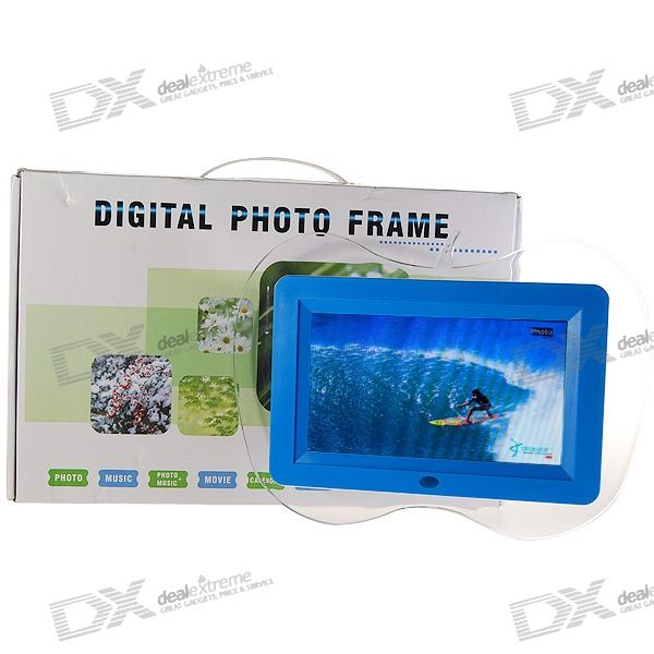 "7"" Wide Screen TFT LCD SD/MMC/MS/USB Digital Photo Frame and Video Player (480*234px)"