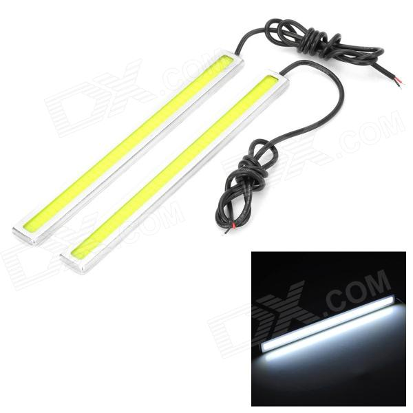 7W 65lm 6000K 80-COB LED White Waterproof Car Daytime Running Lights (12V / 2 PCS) 2pcs waterproof white and yellow car headlight cob led daytime running lights drl fog lights with turn signal light in russia
