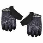 QEPAE F036 Men's Spider Web Pattern Half-finger Glove - Black (XL)