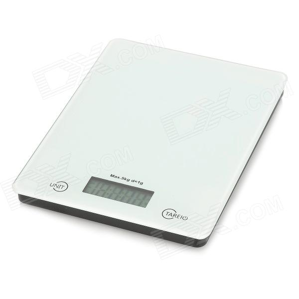 303-4 Convenient 5kg / 1g Kitchen Scale - Black + White (1 x CR2032)