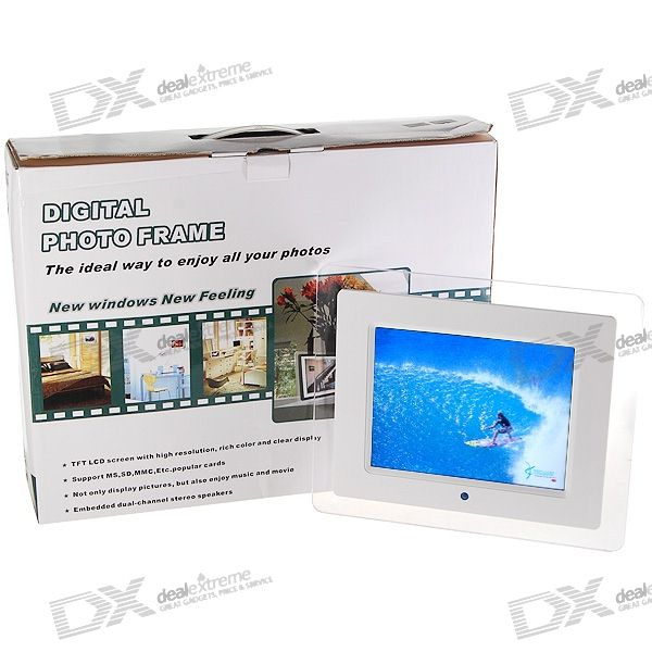 """8"""" Wide Screen TFT LCD SD/MMC/MS/XD/CF/USB Digital Photo Frame and Video Player (480*234px)"""