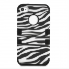 3-in-1 Zebra-Stripe Style Protective Plastic + Silicone Case for Iphone 4 / 4S - White + Black