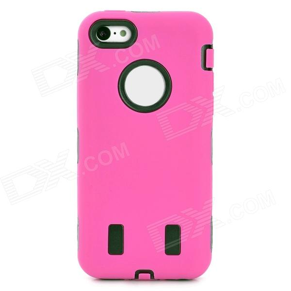 3-in-1 Cool Protective Silicone + PC Case for Iphone 5C - Deep Pink 3 in 1 cool protective plastic silicone case for iphone 5c black blue