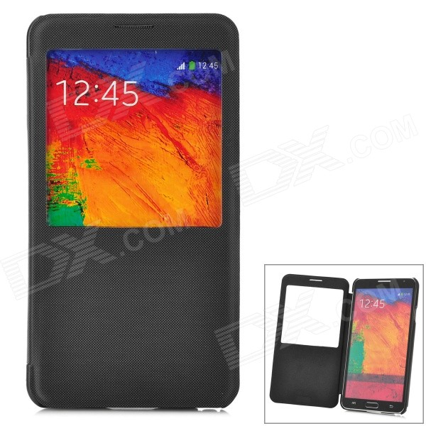 Protective Flip Open PU Leather Case w/ Display Window for Samsung Note3 - Black + Translucent Black protective flip open pu leather case w display window stand for samsung note 3 n7200 white