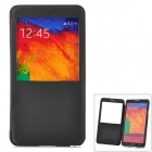 Protective Flip Open PU Leather Case w/ Display Window for Samsung Note3 - Black + Translucent Black